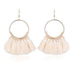 white tassel hoop earring